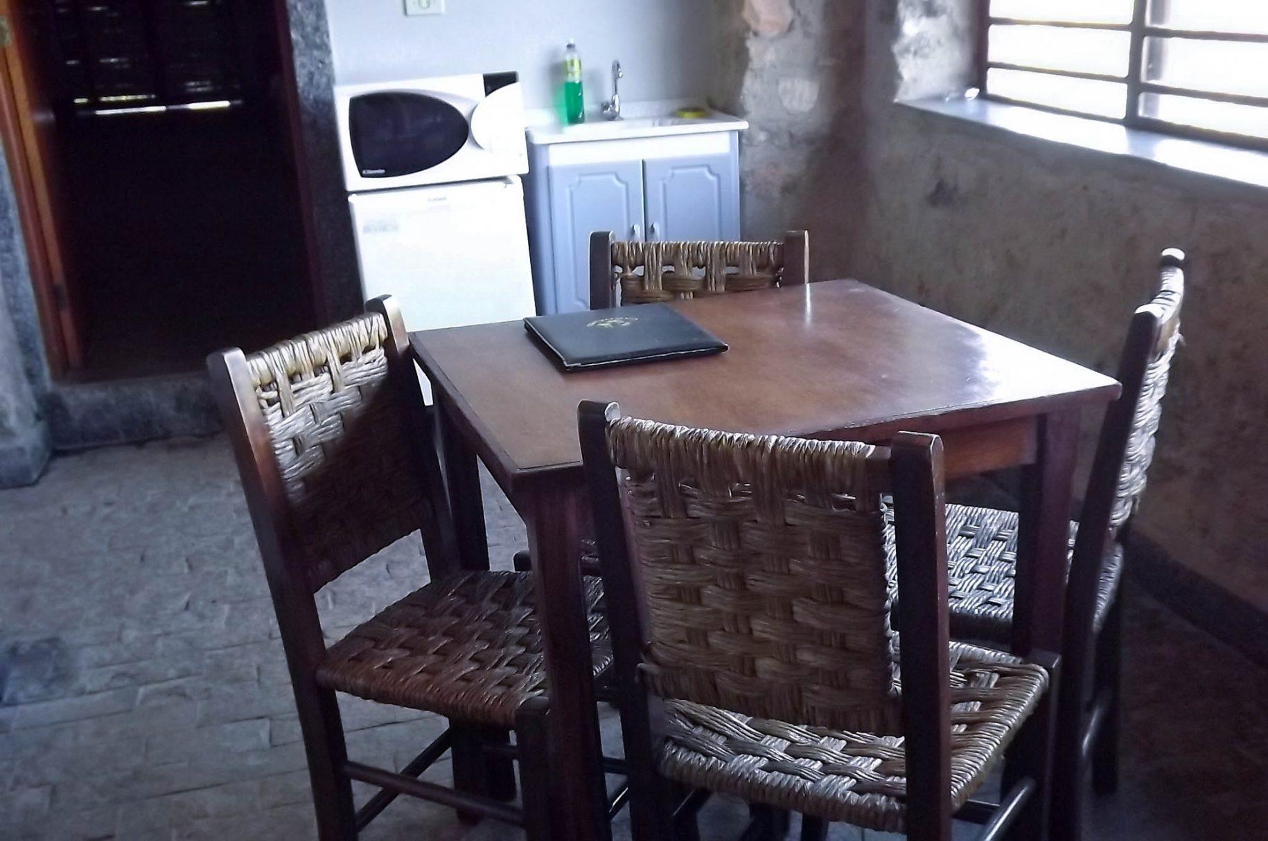 Copa da mamãe de um dos chalés do hotel fazenda parque dos sonhos com, pia privativa, microondas, frigobar, mesa com cadeiras etc