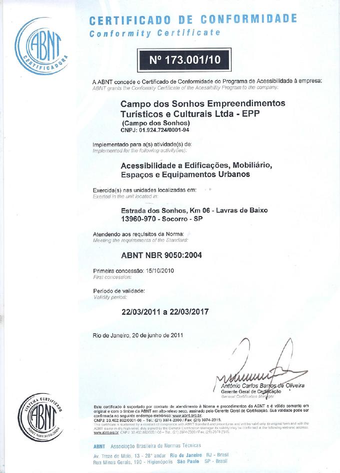 Certificado de conformidade ABNT NBR 9050 recebido pelo hotel fazenda campo dos sonhos