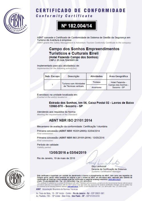 Certificado de conformidade ISO 21101-2014 - turismo com atividades de técnicas verticais e atividades de águas brancas - Campo dos Sonhos - SOCORRO-SP