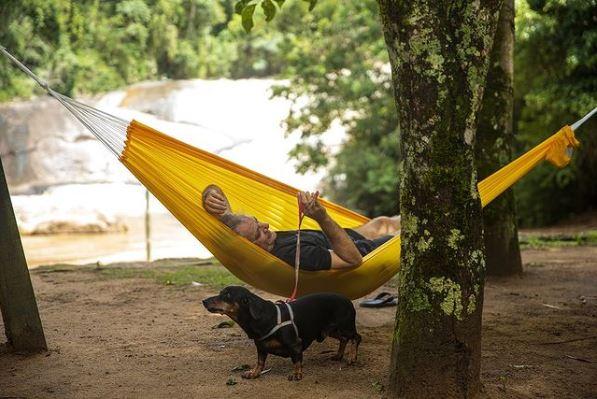 homem deitado na rede e cachorro ao lado